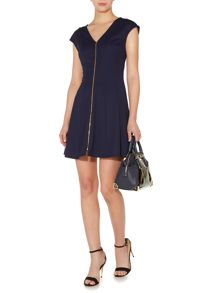 Zip front ponti fit and flare dress