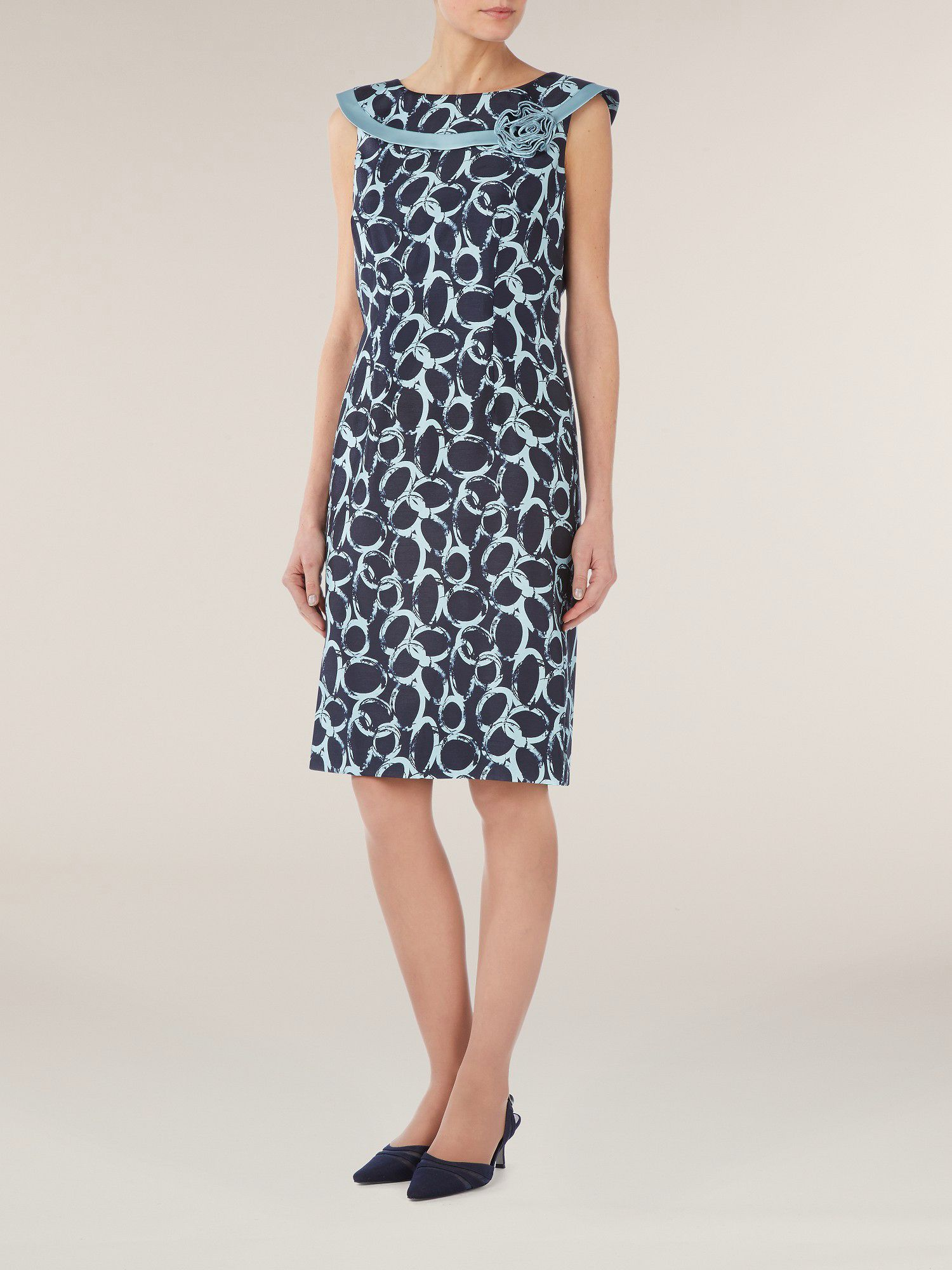 Circle print bardot shift dress