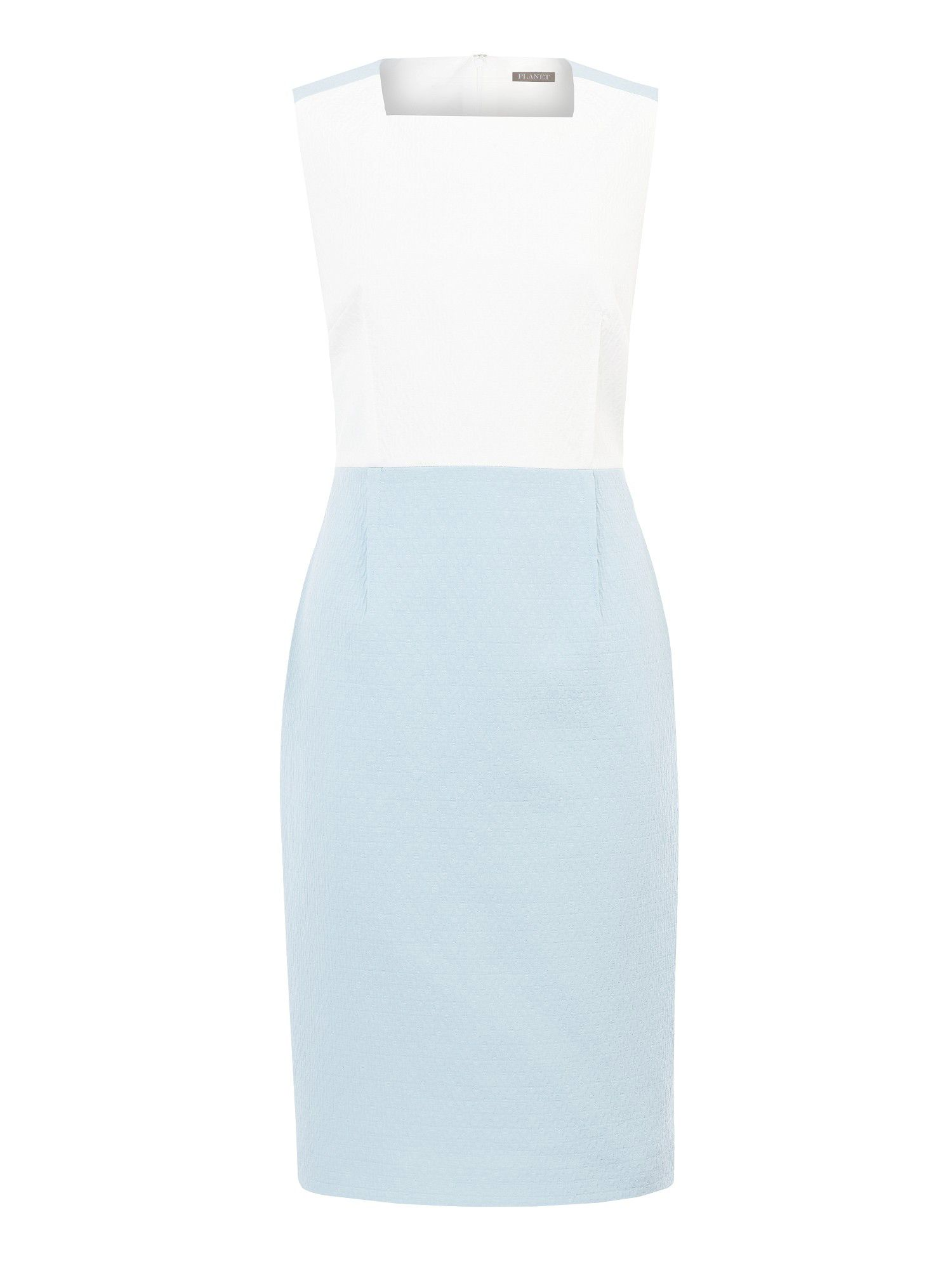 Ice blue & ivory blocking dress