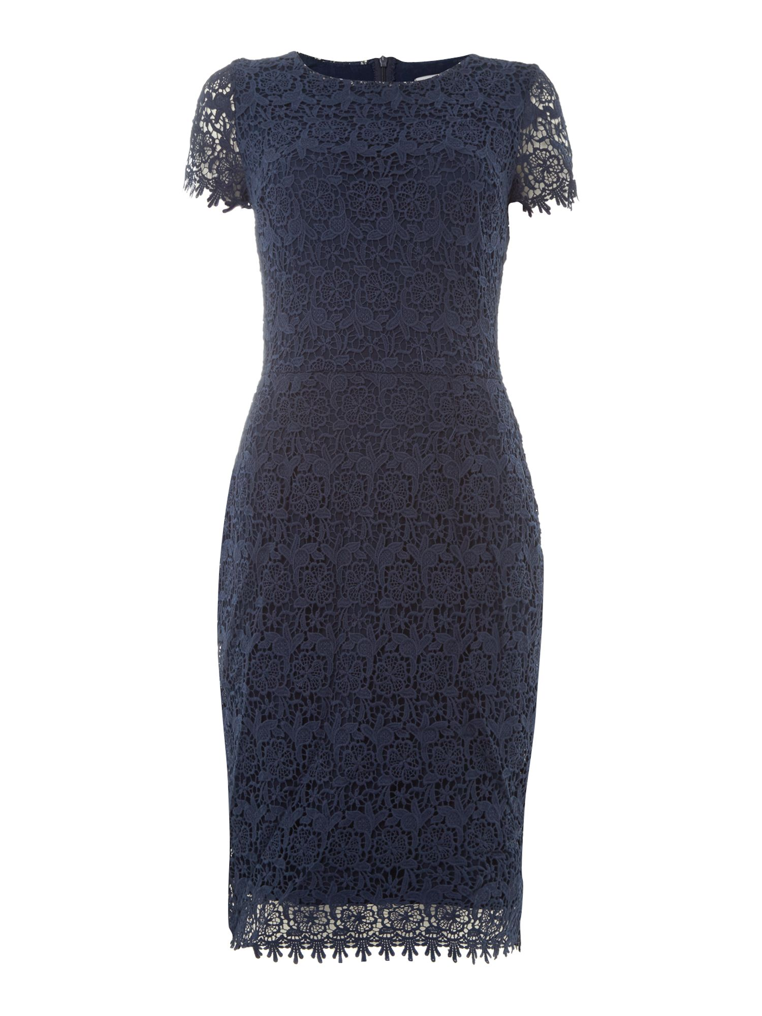Short sleeved lace midi dress