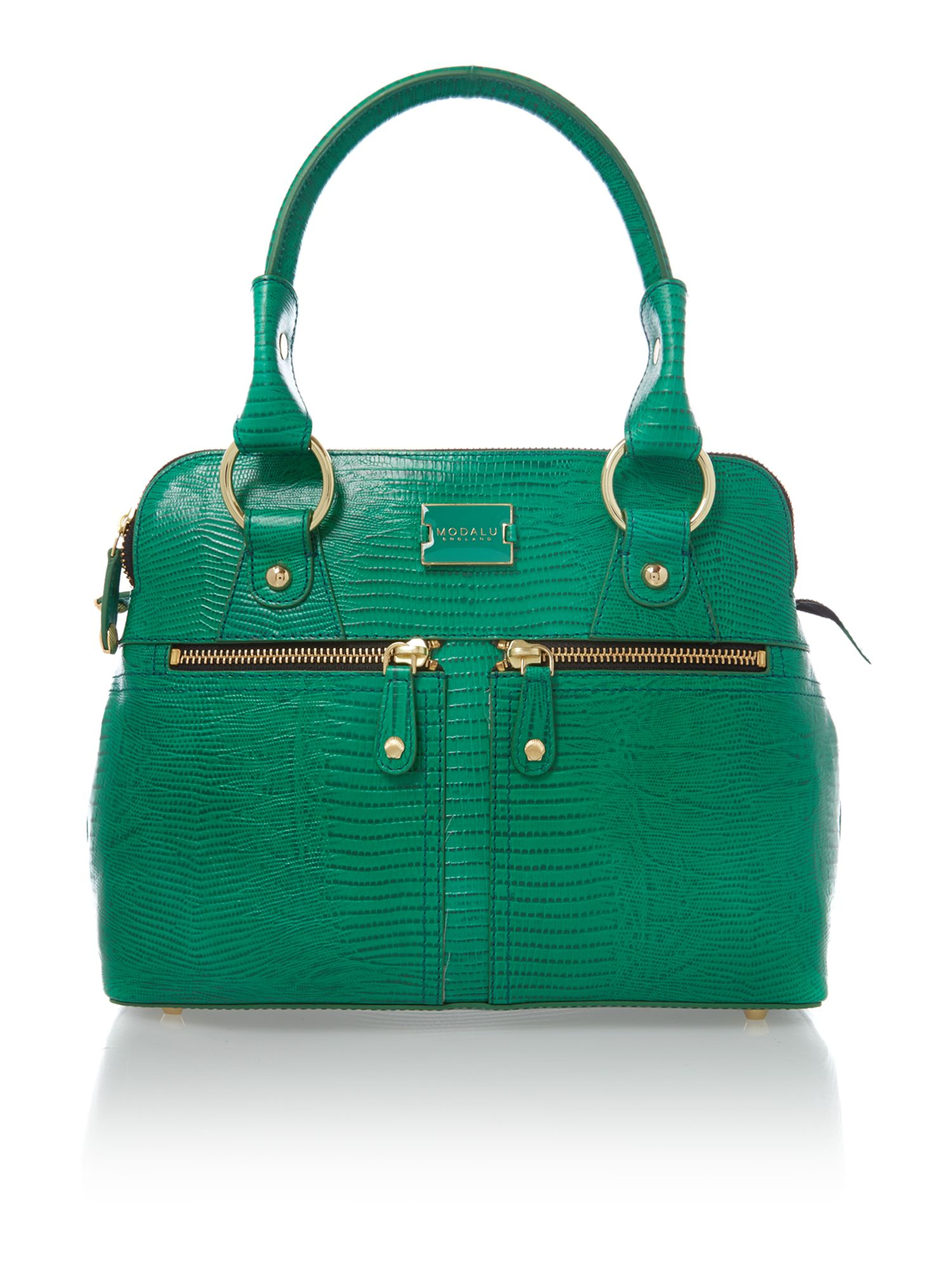 Pippa green lizard mini tote bag
