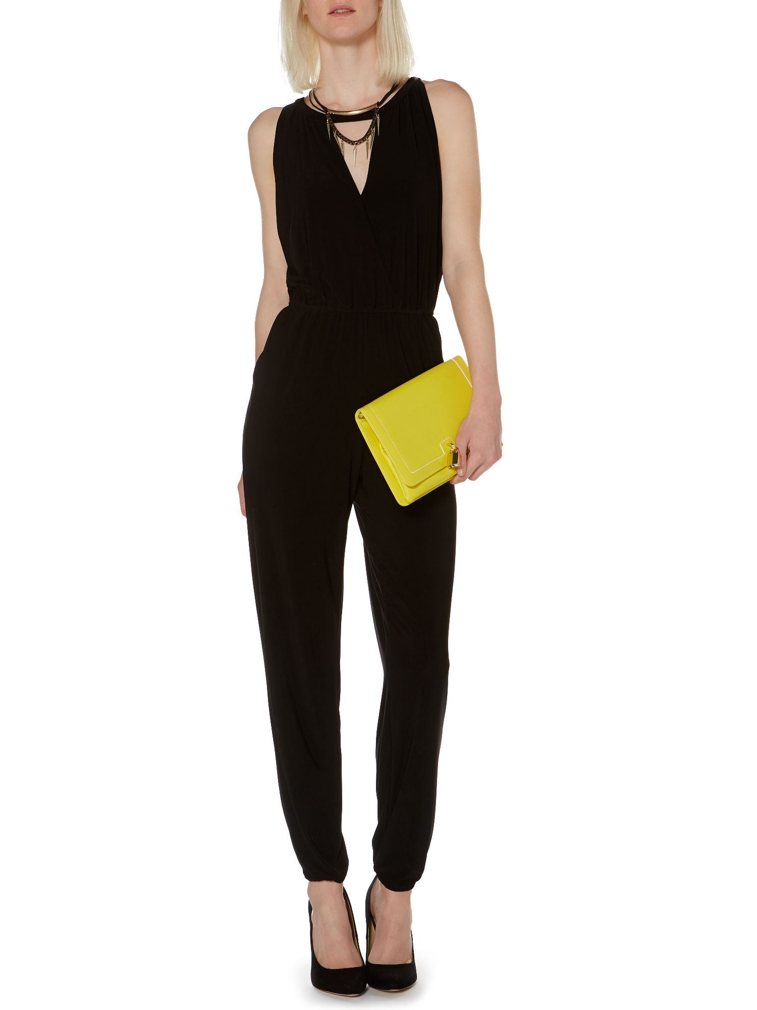 Wrap front jumpsuit with necklace