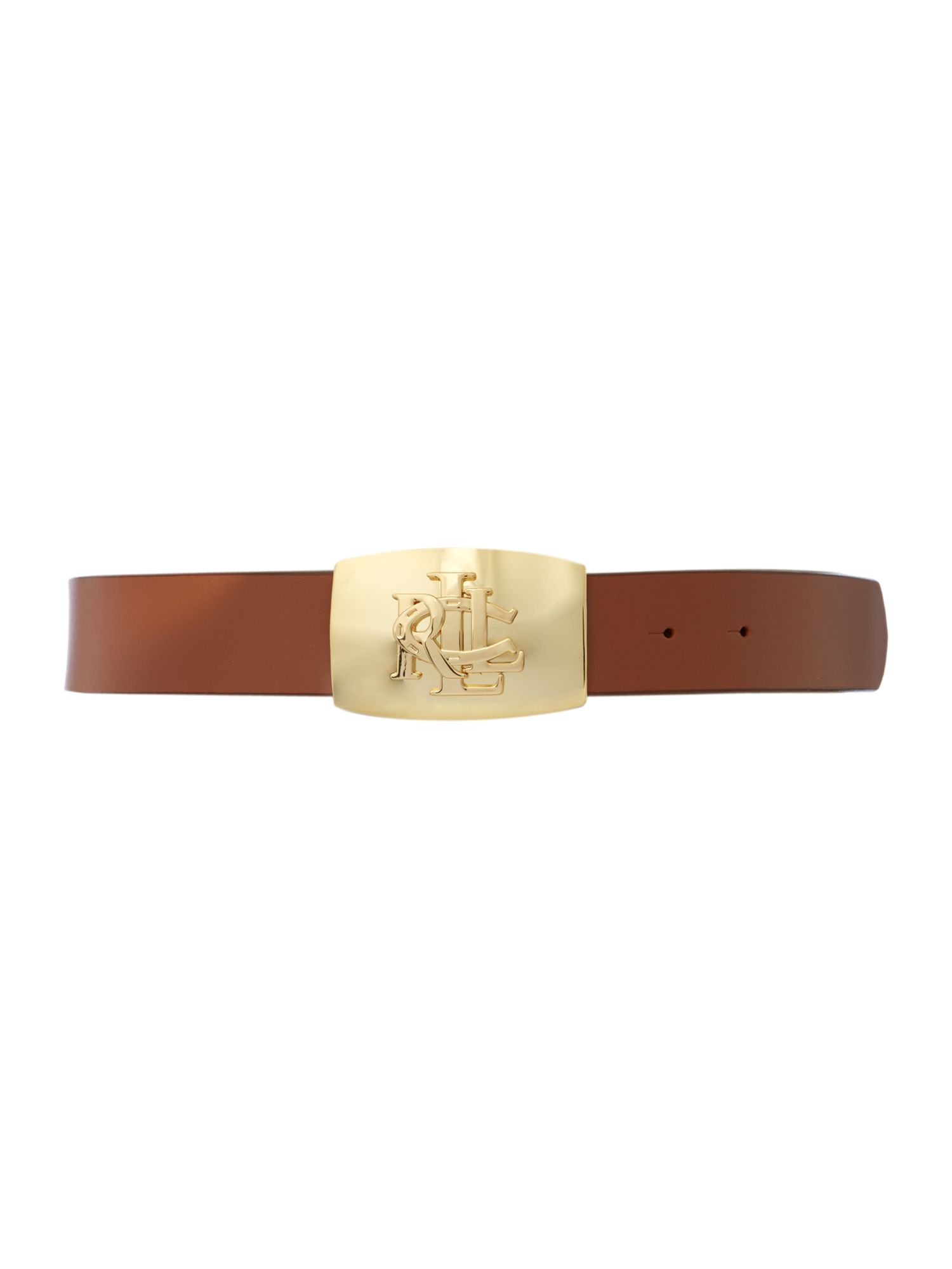 Leather belt with debossed logo plaque