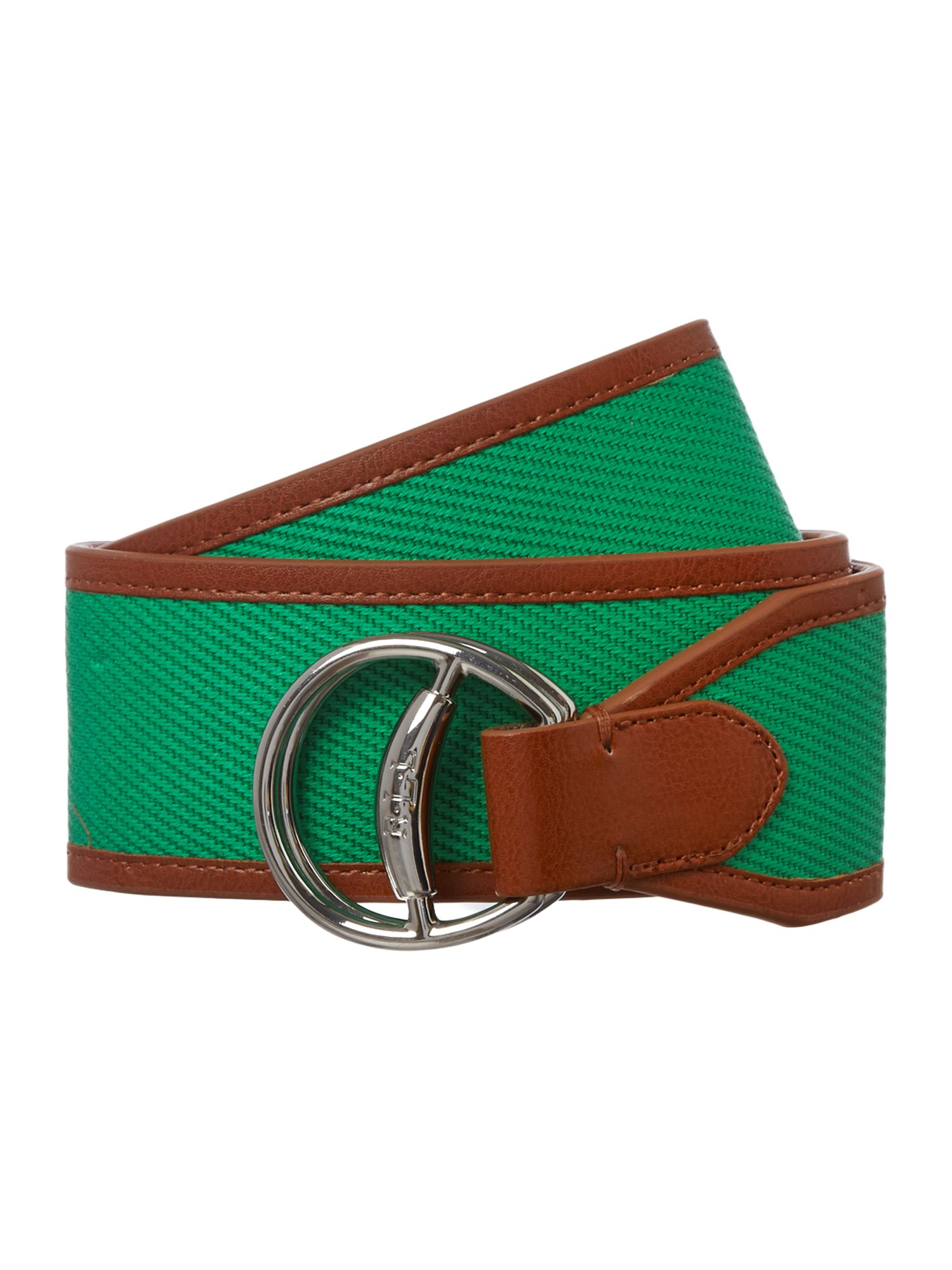 Leather and canvas belt with equestrian detail