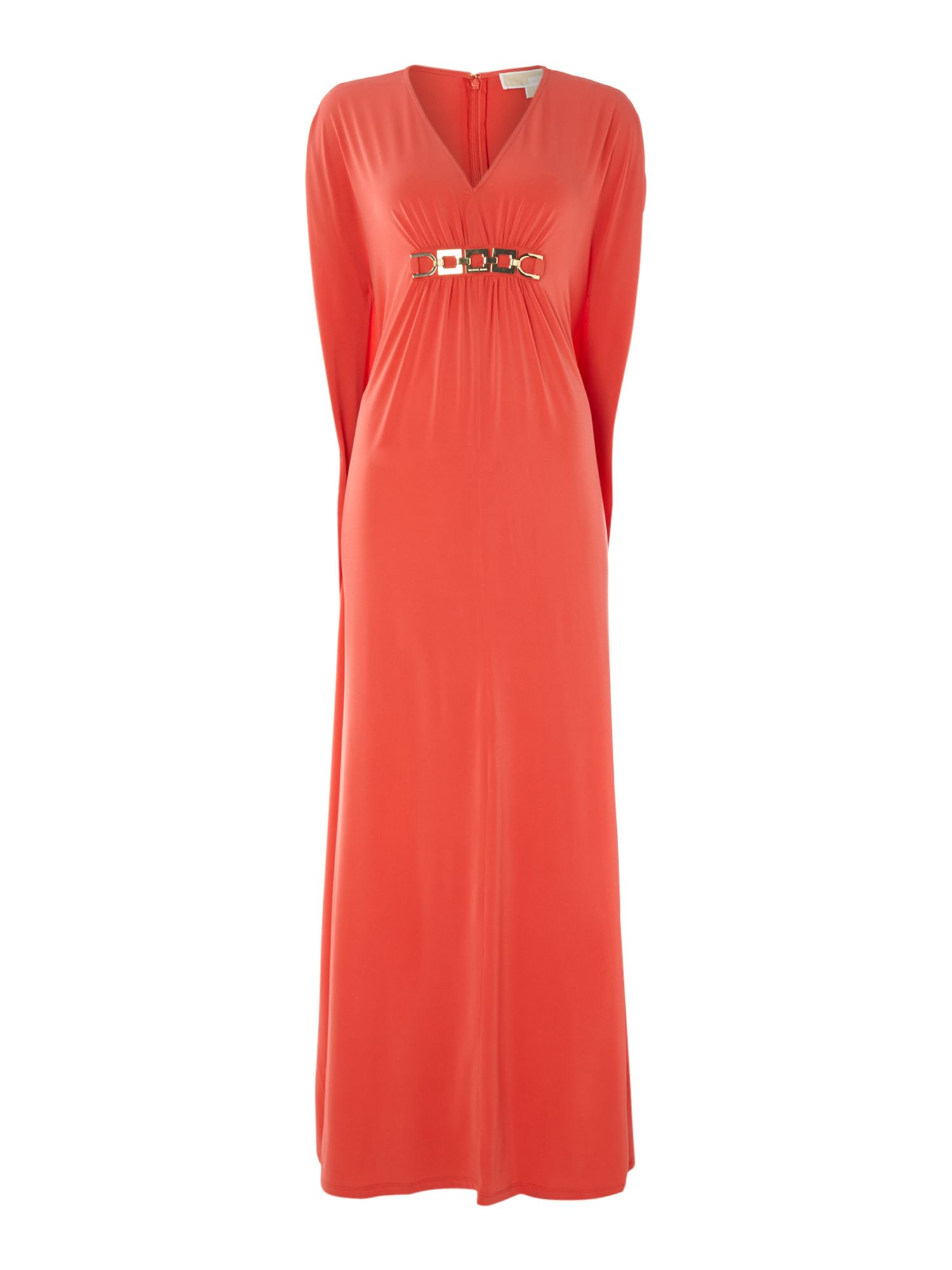 V neck maxi kaftan dress with chain detail