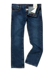 max washed blue straight fit denim
