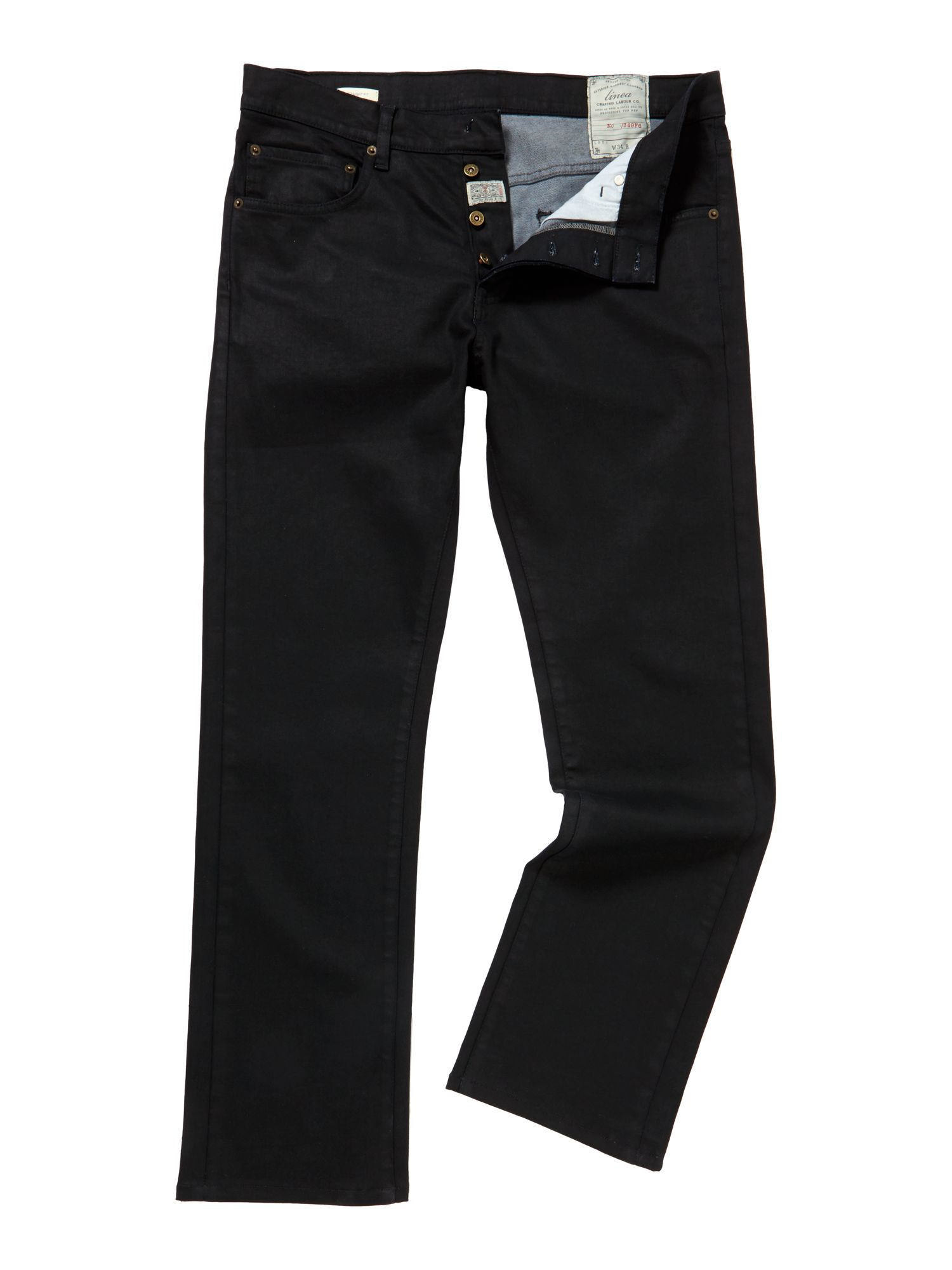 max coated indigo straight fit jeans