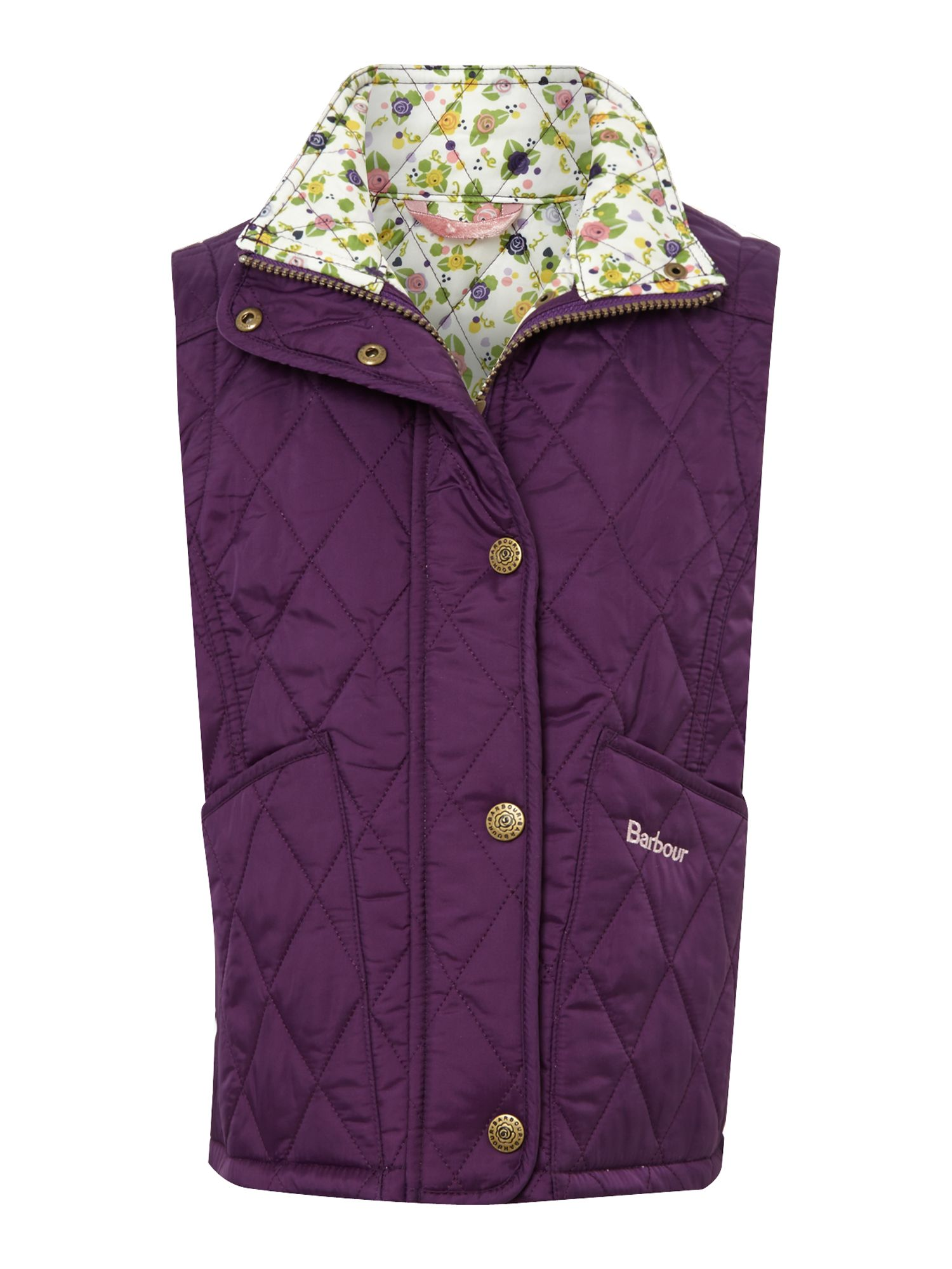 Girls Glencove quilted gilet with floral lining