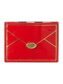 Red patent cardholder