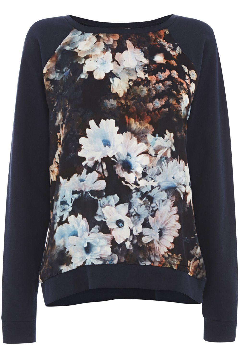 Smudgy floral print sweater