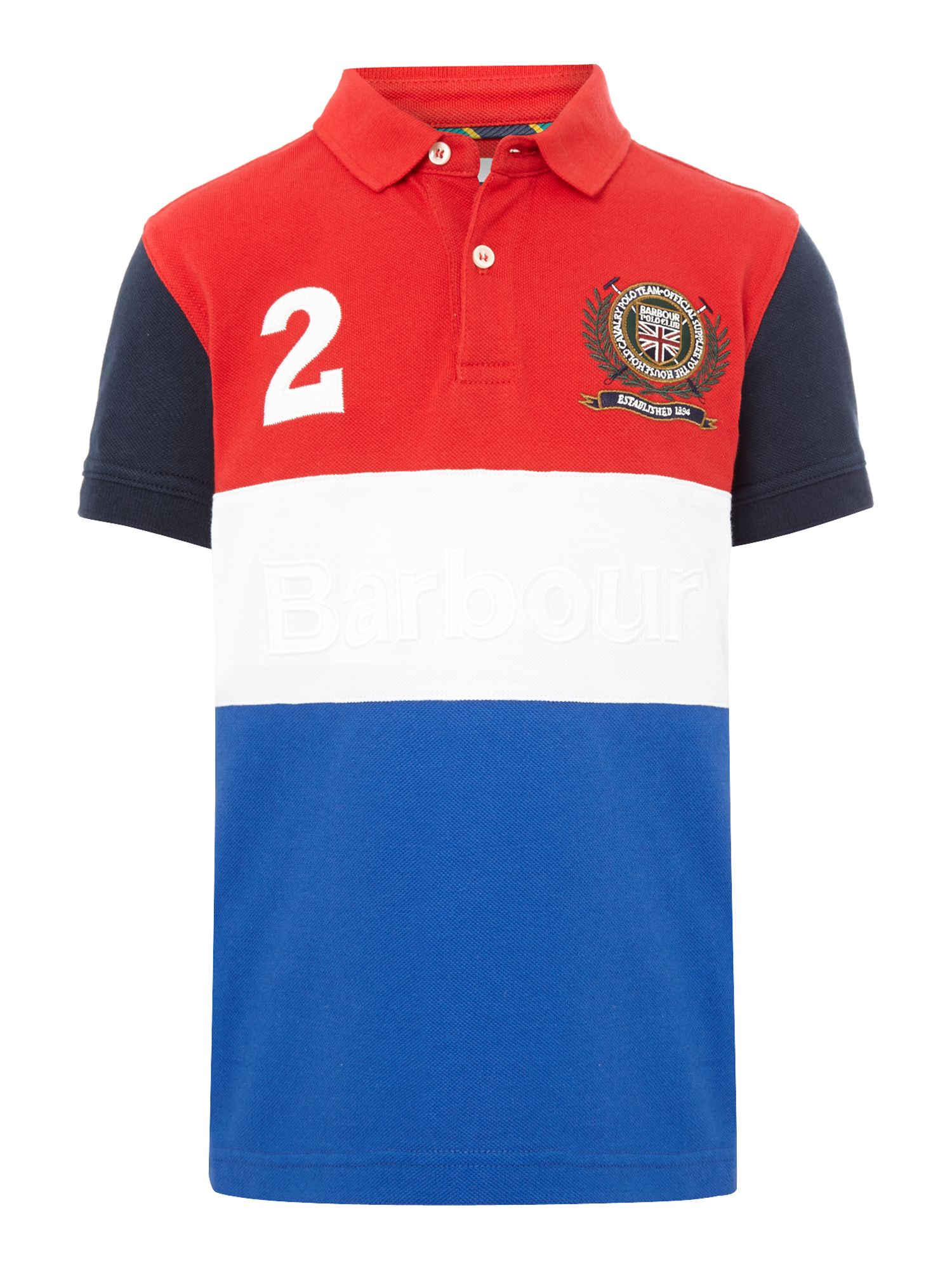 Boys block panel polo shirt with crest