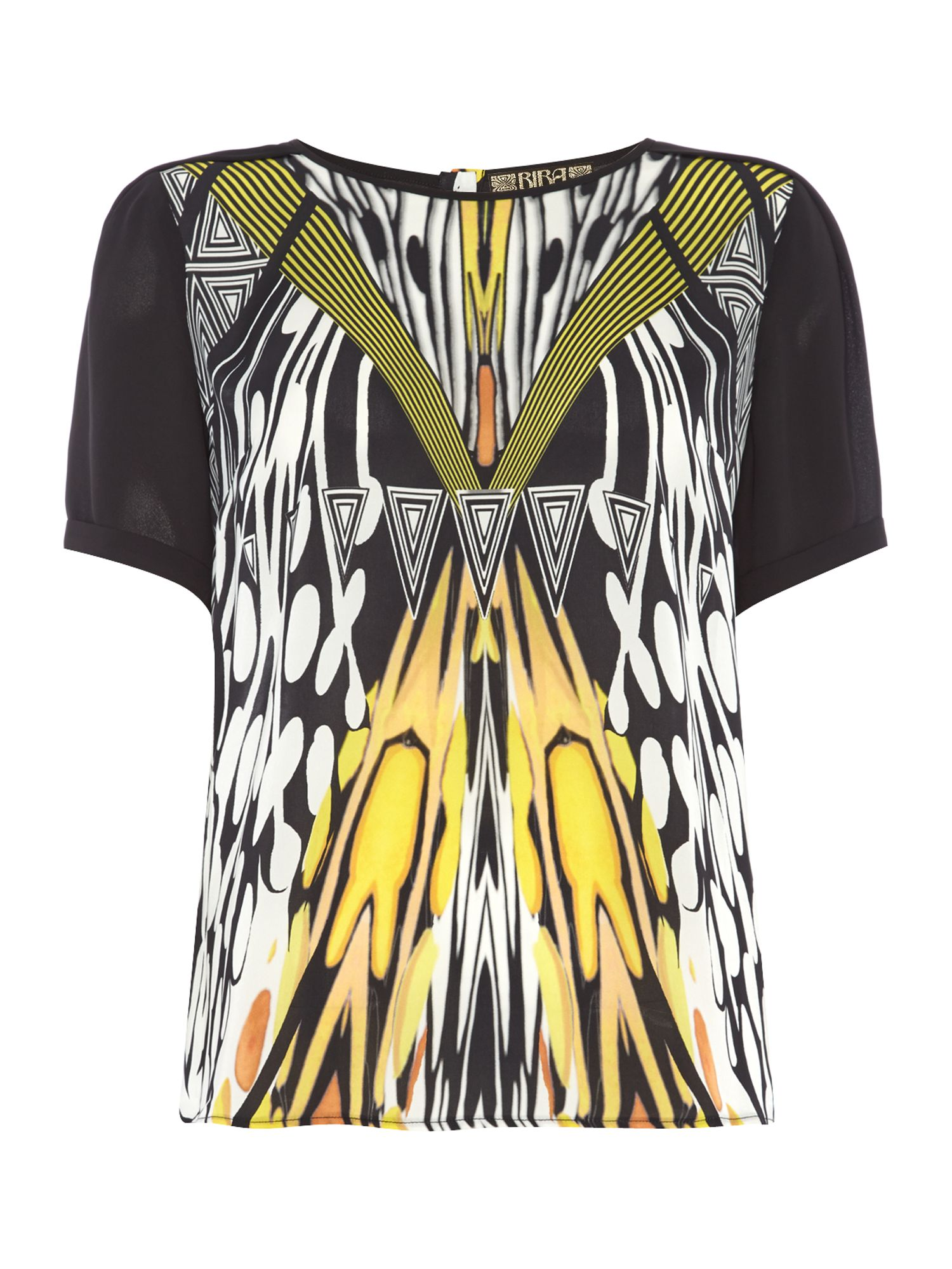 Graphic tribal print shell top
