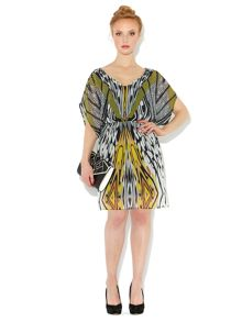 Graphic tribal print v neck dress