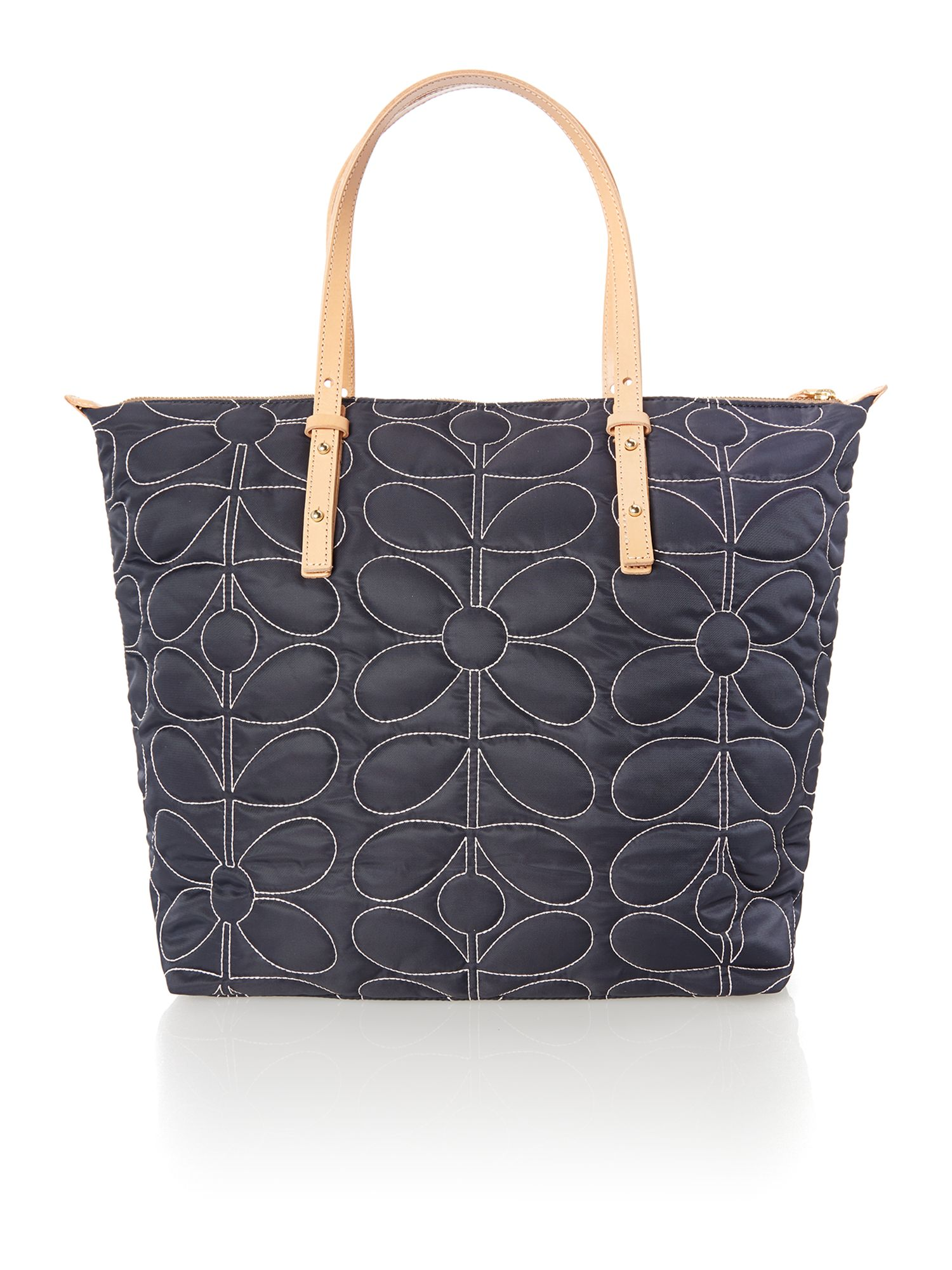 Sixties Stem navy quilt tote bag