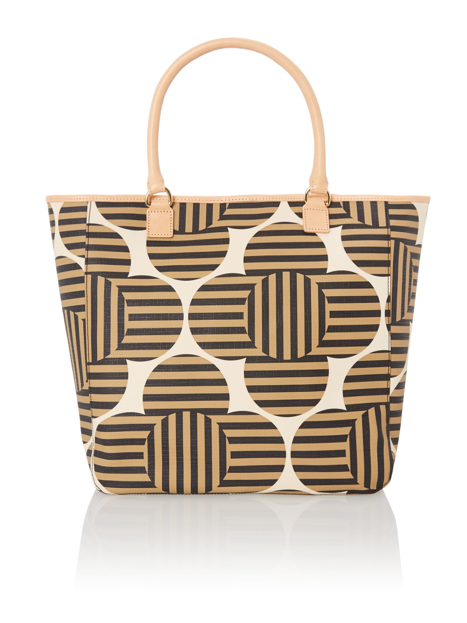 Flower print neutral tote bag
