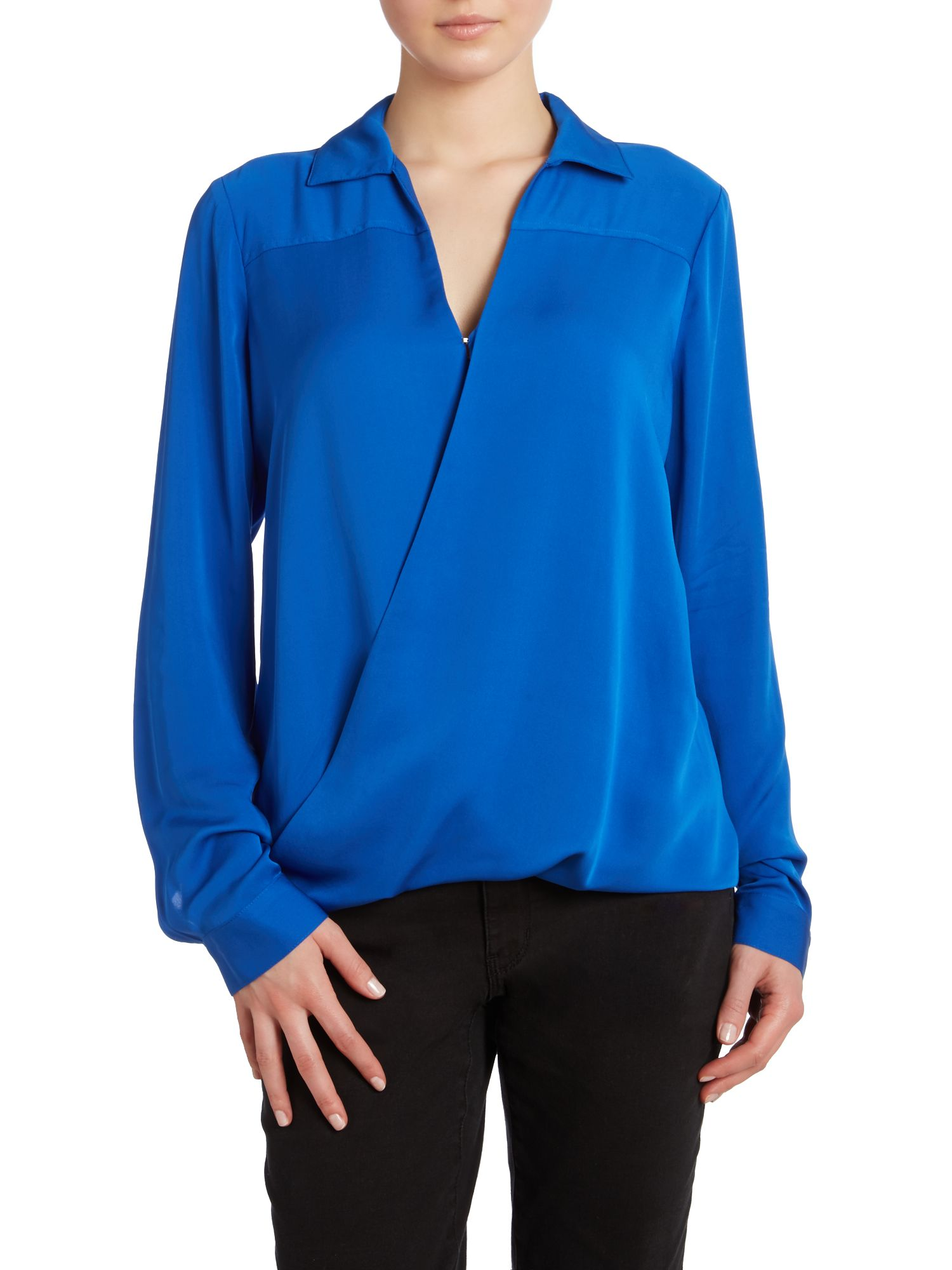 Silk long sleeved drape collar shirt
