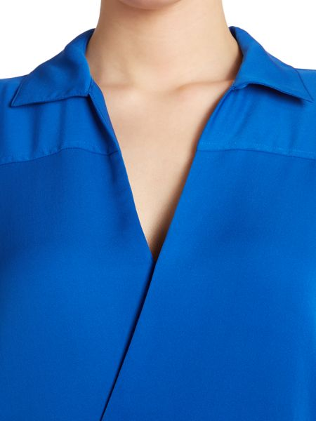 Michael Kors Silk long sleeved drape collar shirt