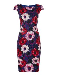 Floral poppy stretch cotton shift dress
