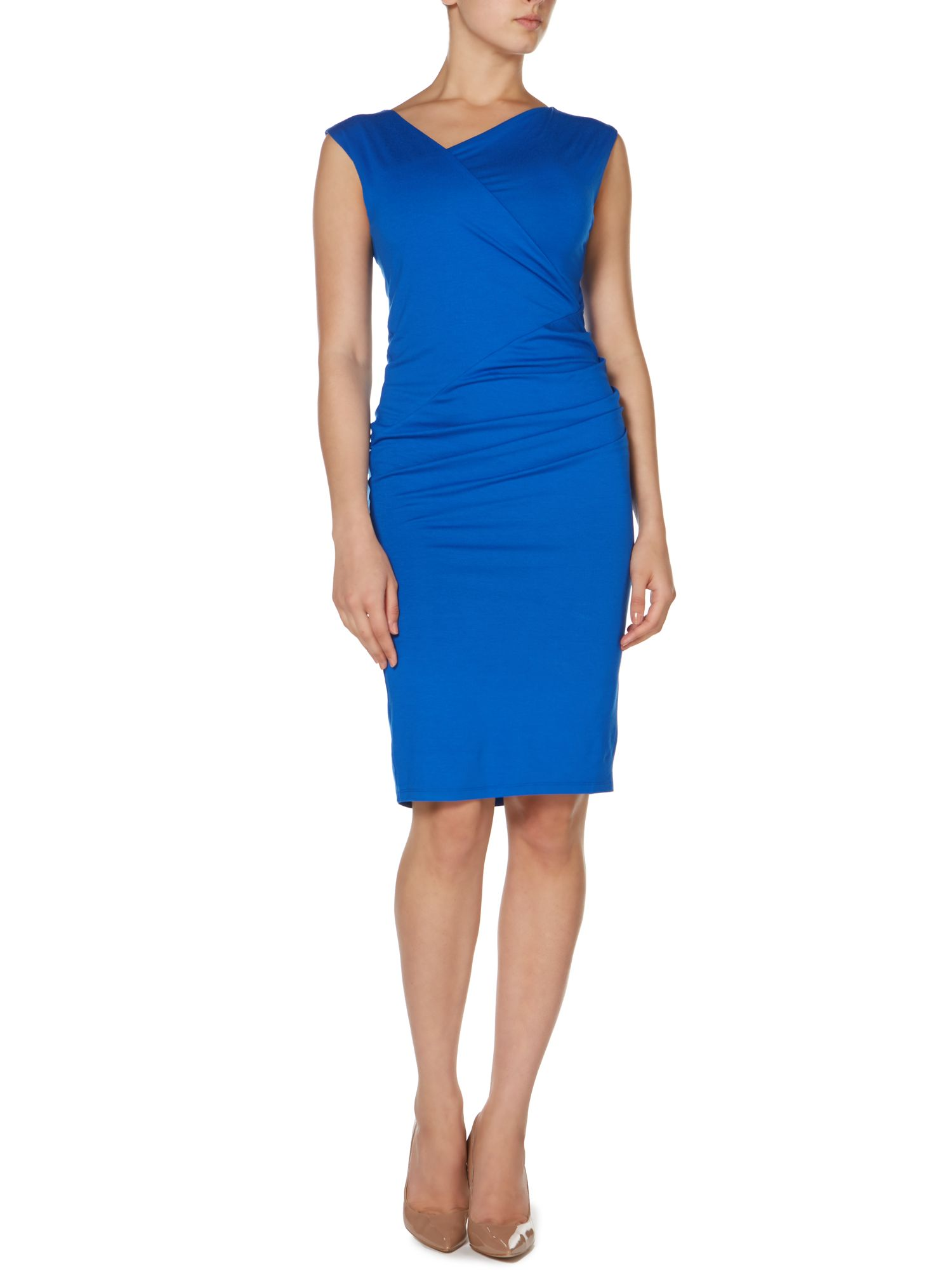 Asymetric neck jersey dress