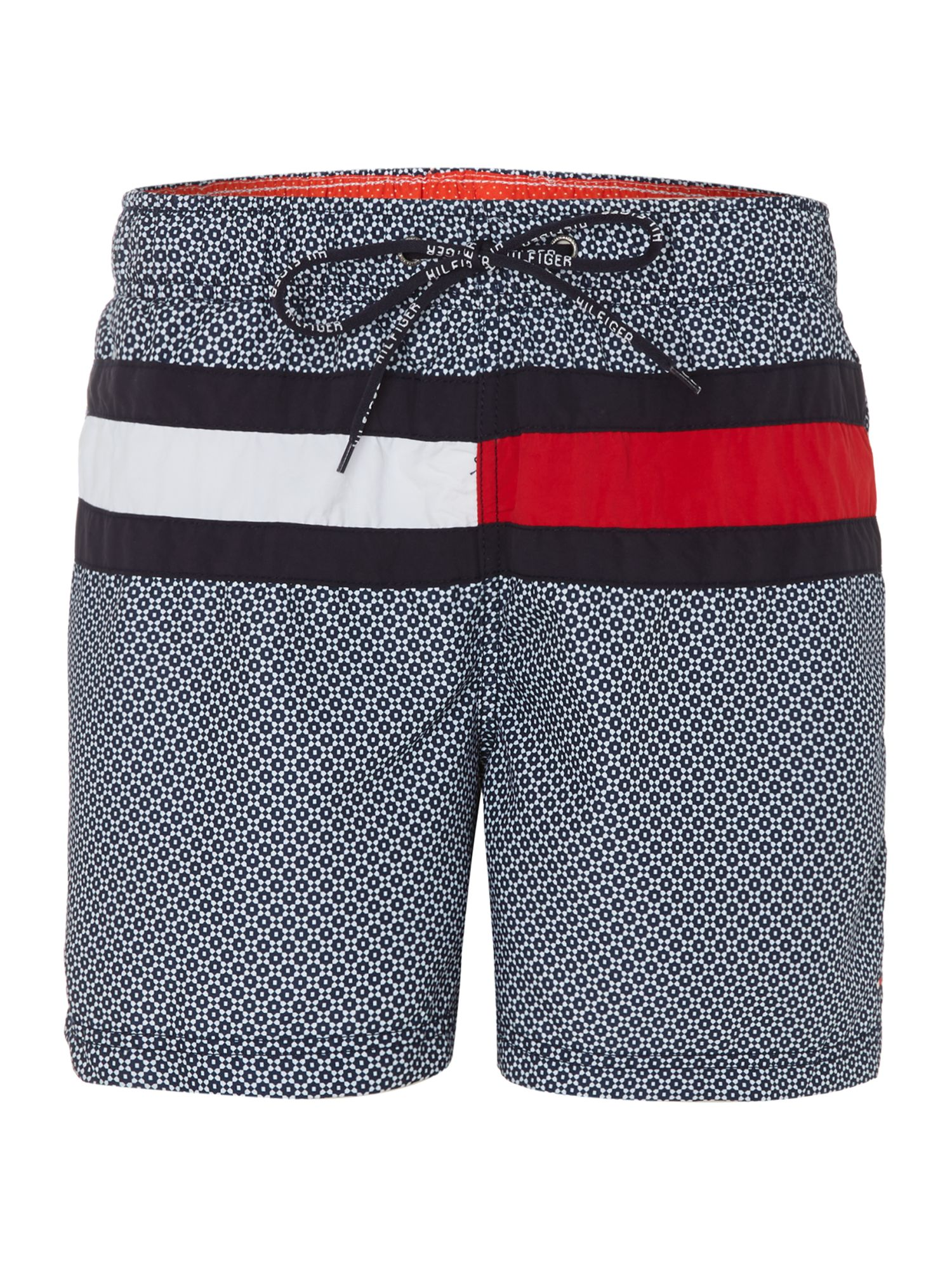 Large logo and geo print swim short