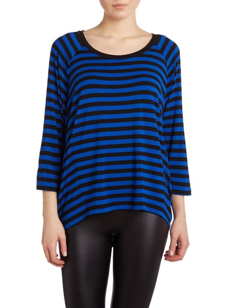 Michael Kors 3/4 sleeved striped top with elip hem