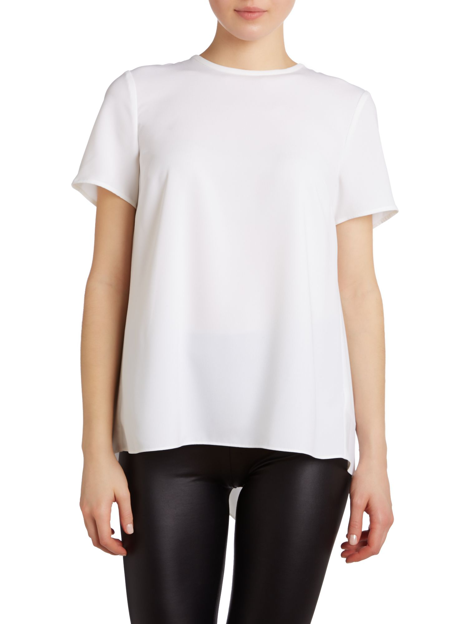 Crepe stretch tee with pleated back