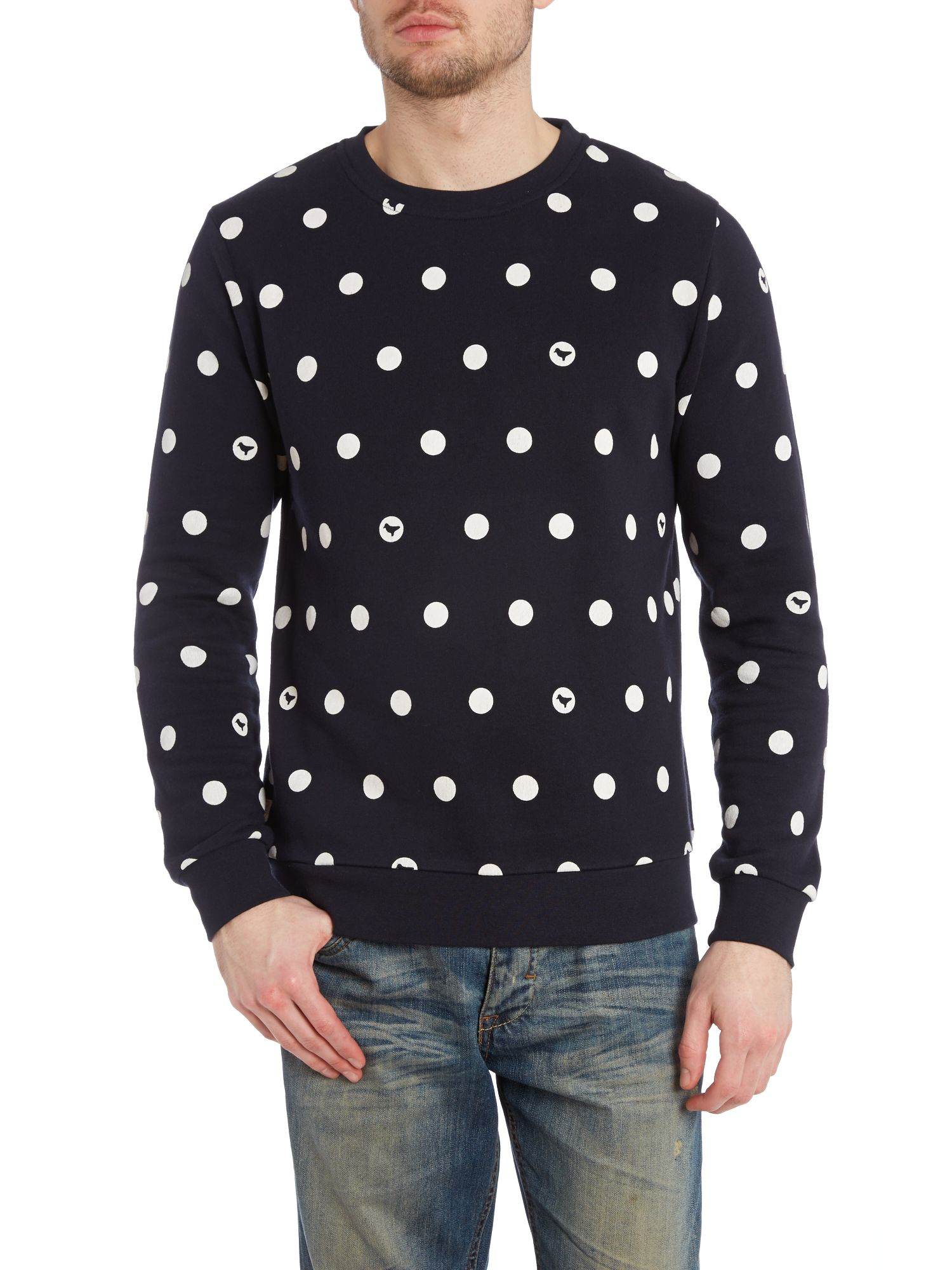 Dots printed crew neck sweatshirt