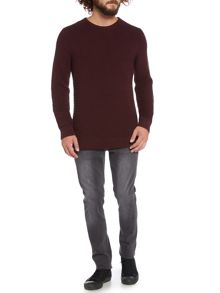 Cognac horizontal textured knitted jumper