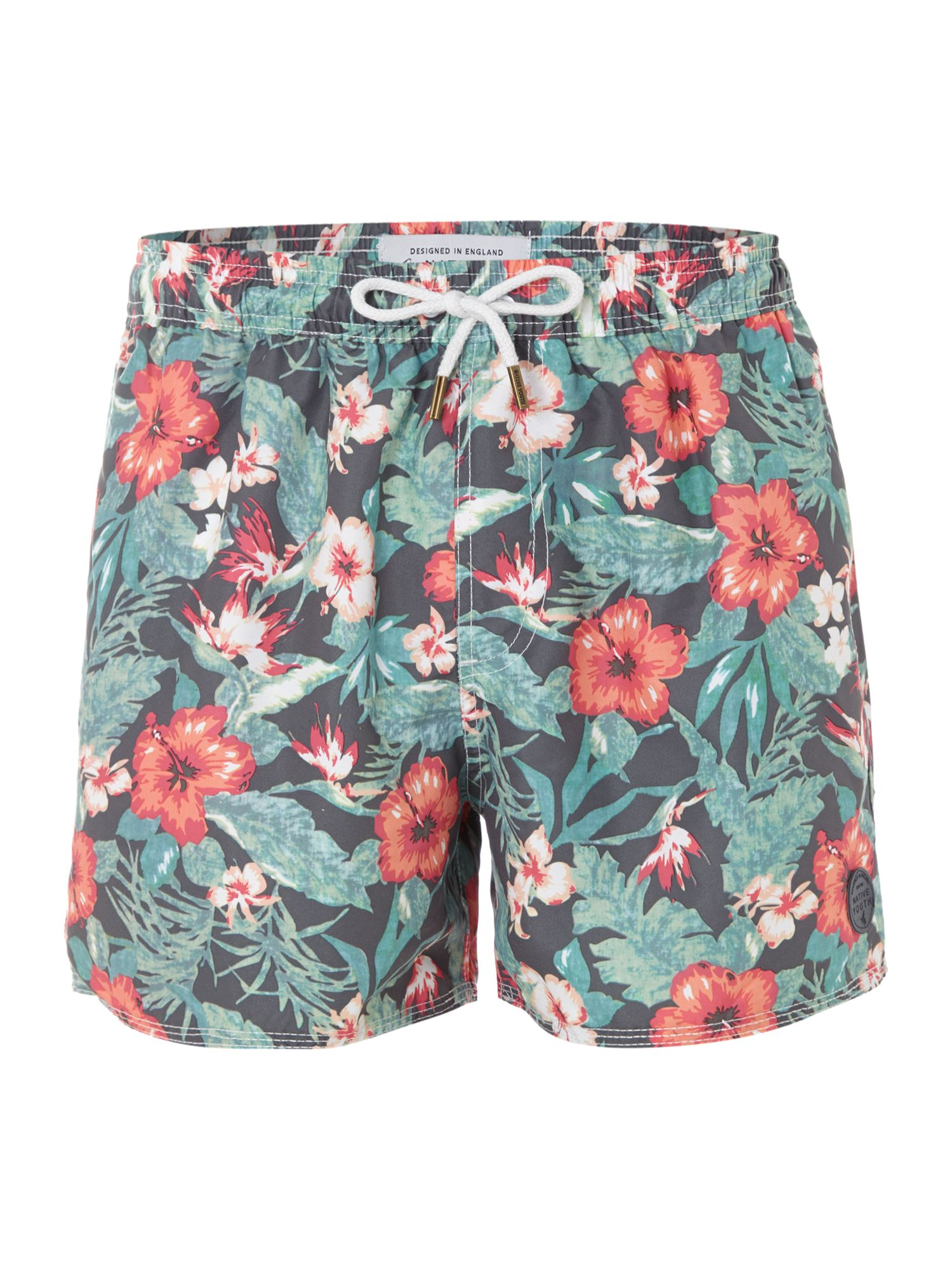 Washed out floral swim shorts