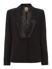 Tailored satin trim blazer