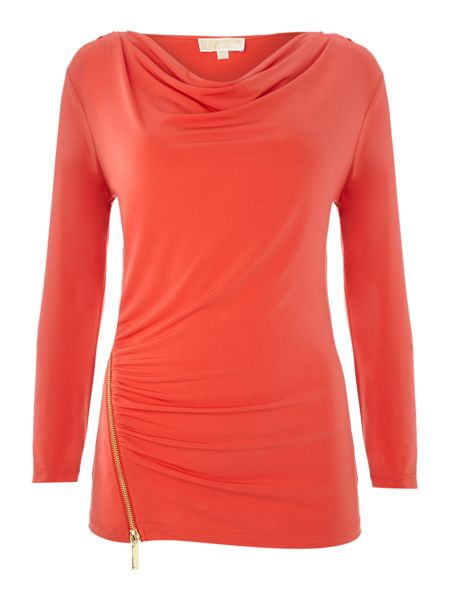 Michael Kors Long sleeved cowl neck top with zip detail