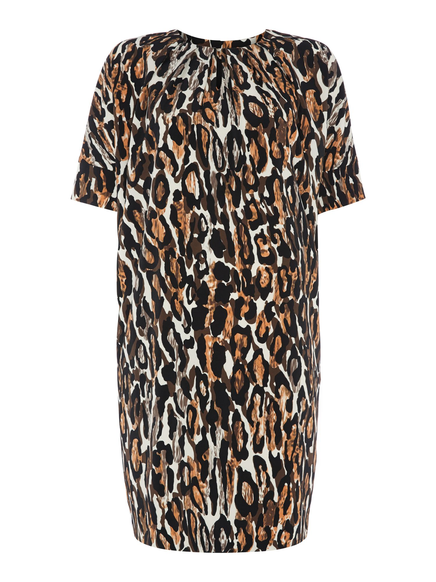 Leopard tuck front dress