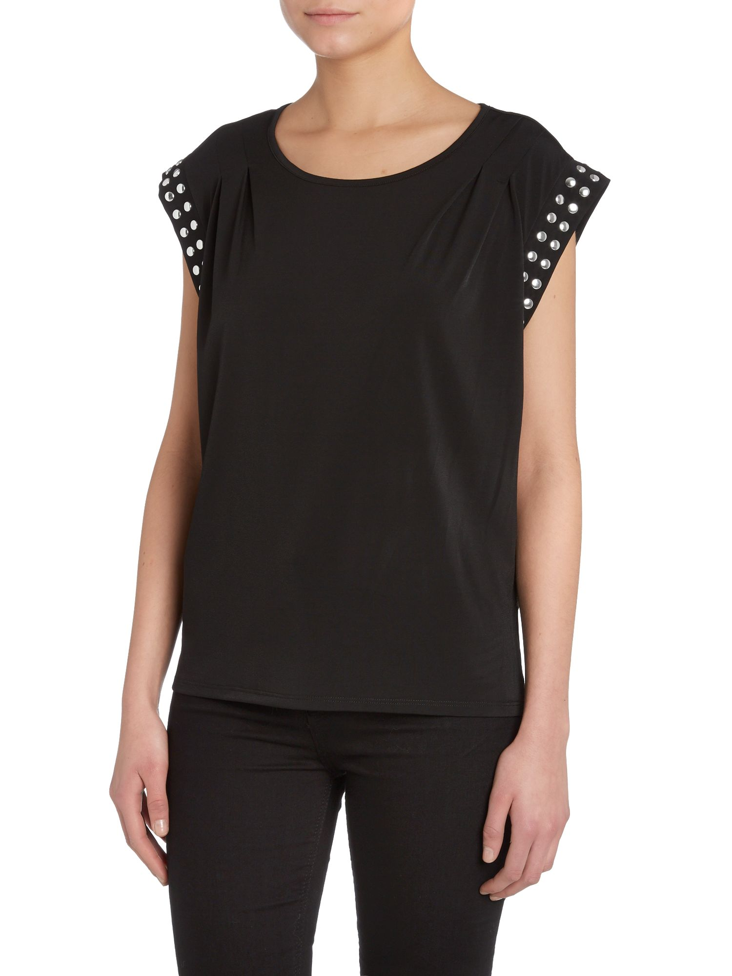 Sleeveless pleated top with stud detail