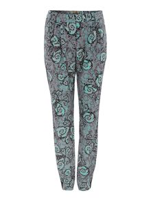 Snake printed side panel trousers