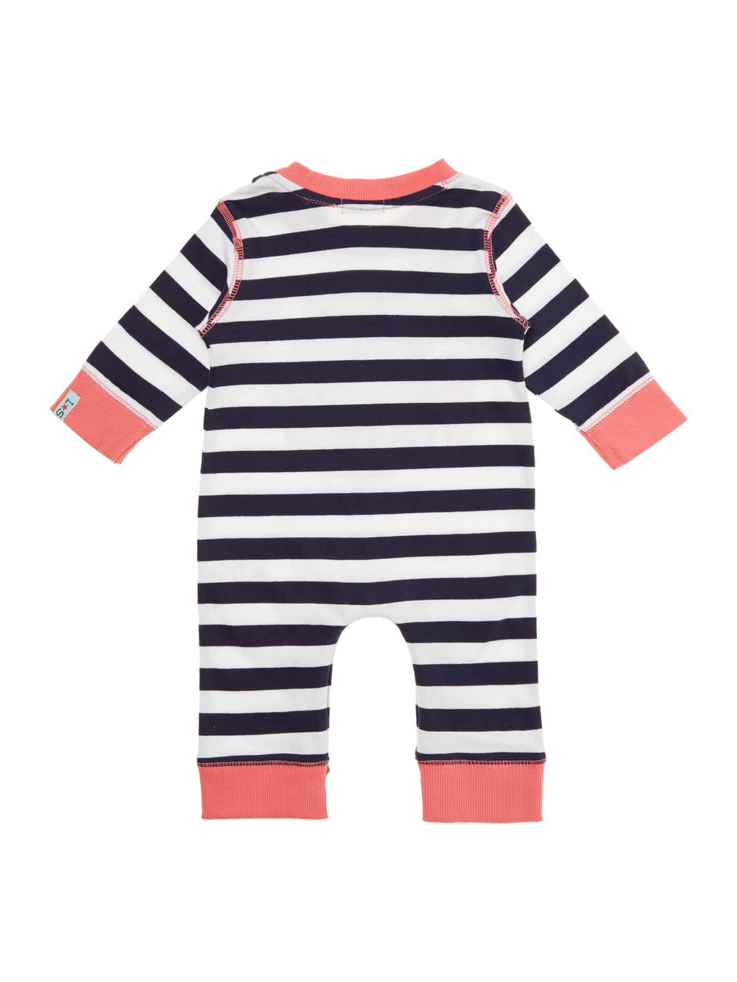Baby girl fishy applique sleepsuit