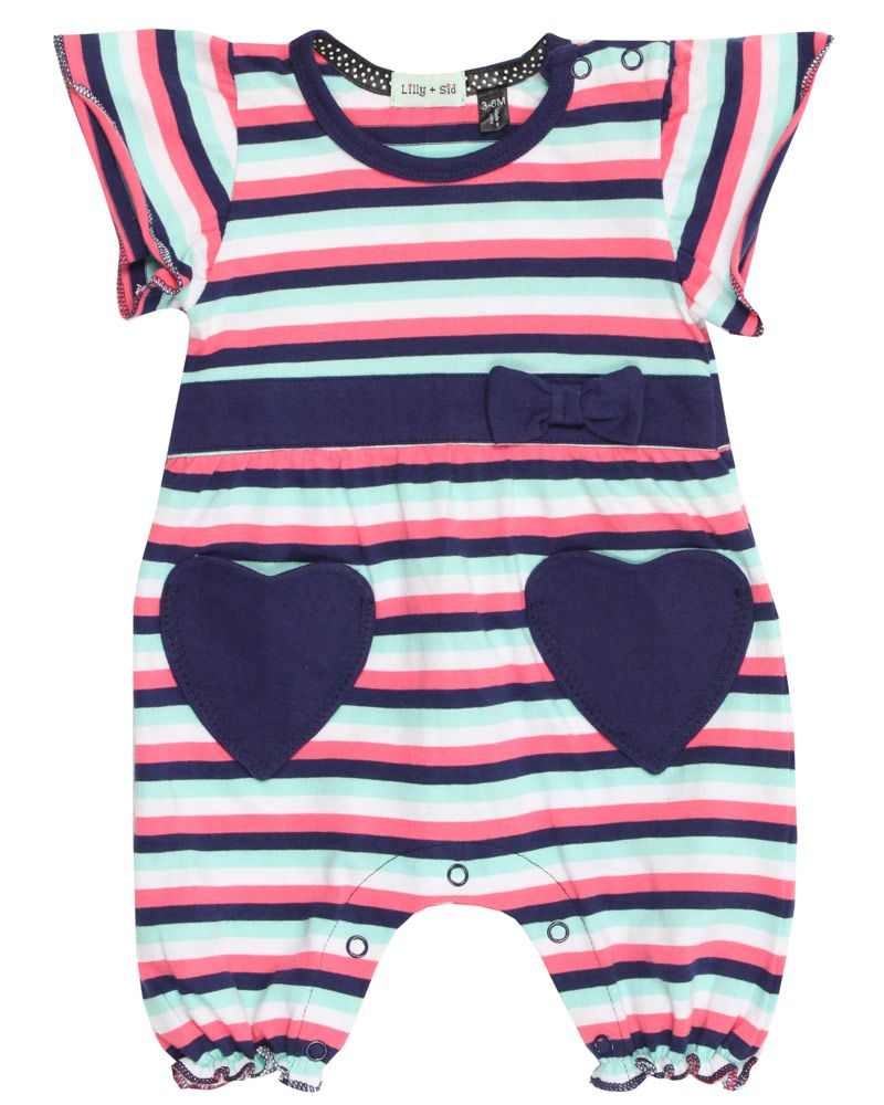 Baby girl heart pocket romper