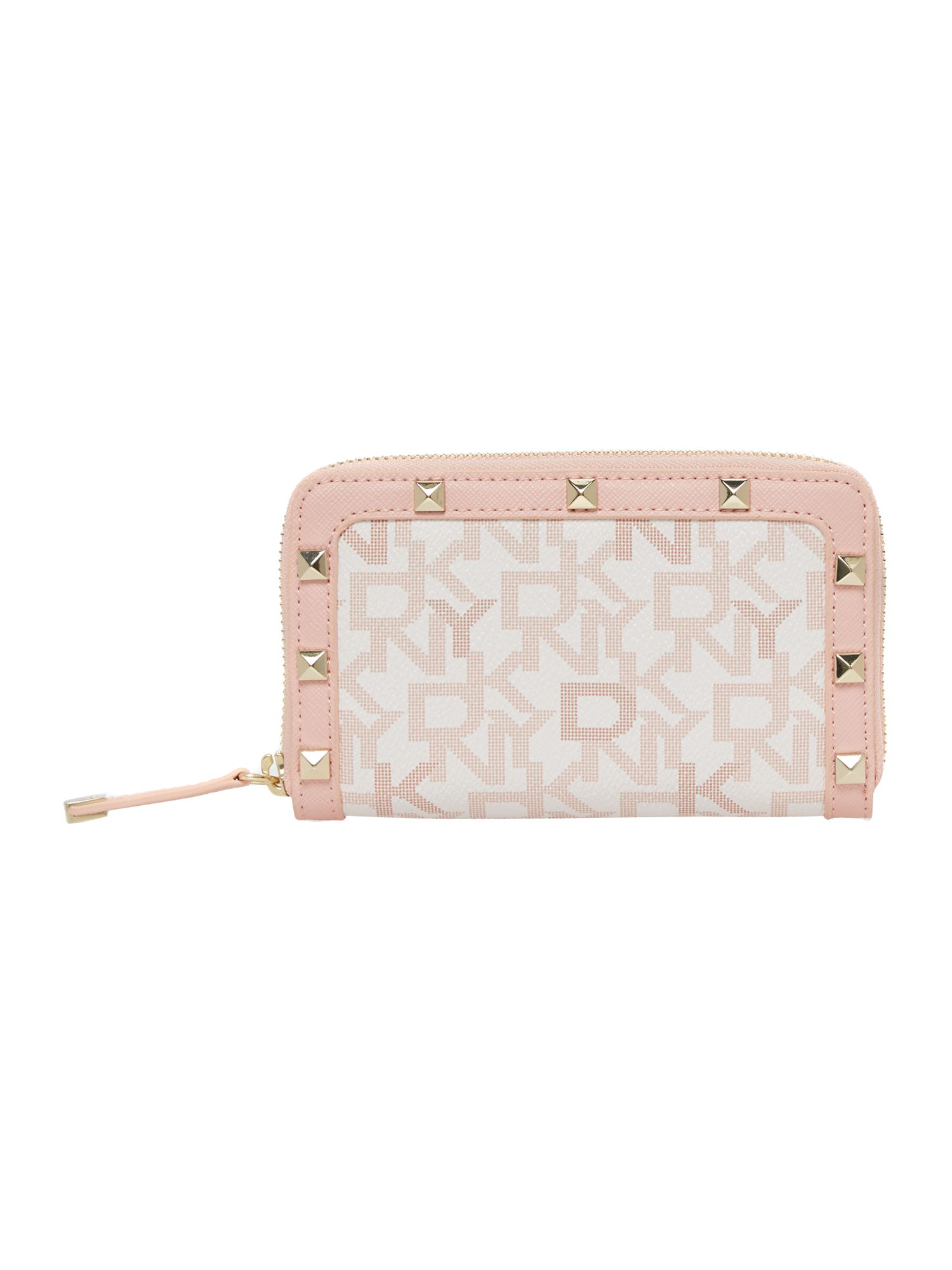 Coated logo pink medium zip around purse