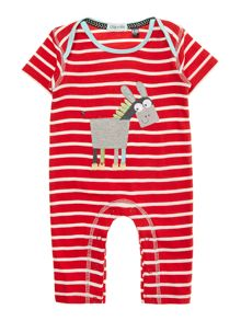 Baby donkey applique sleepsuit