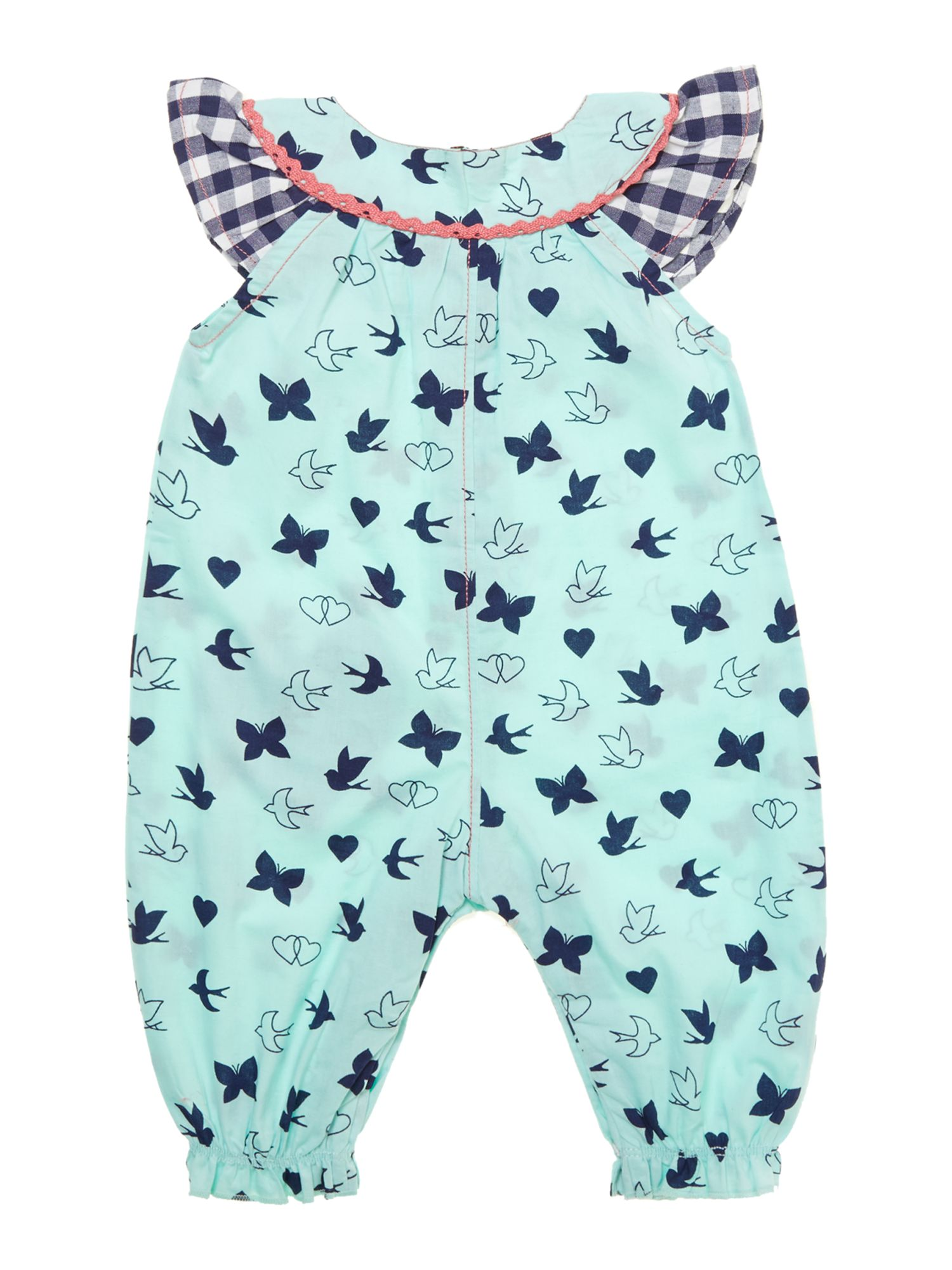 Baby girl mixed print heart pocket romper
