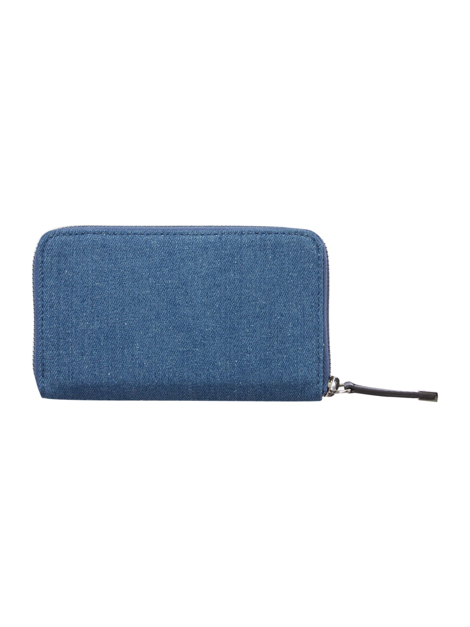 Denim blue medium zip around purse