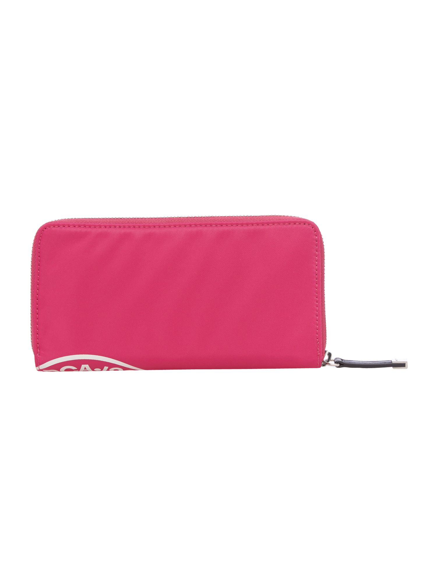 Nylon logo pink large zip around purse