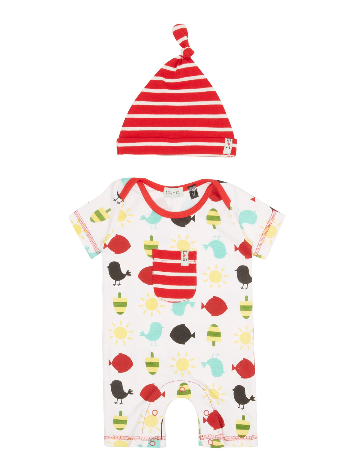 Baby seaside romper & hat set
