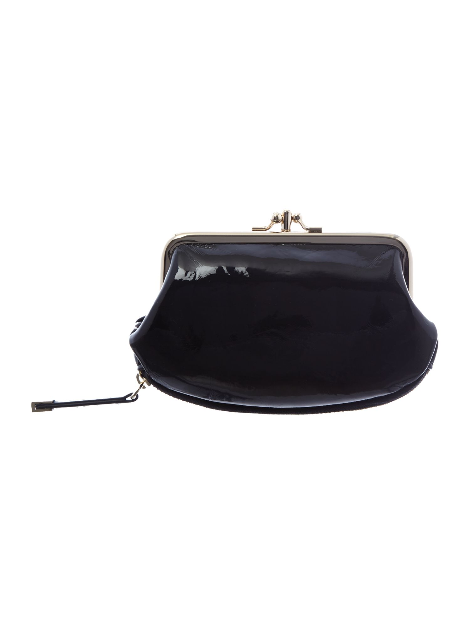 Black patent coin purse