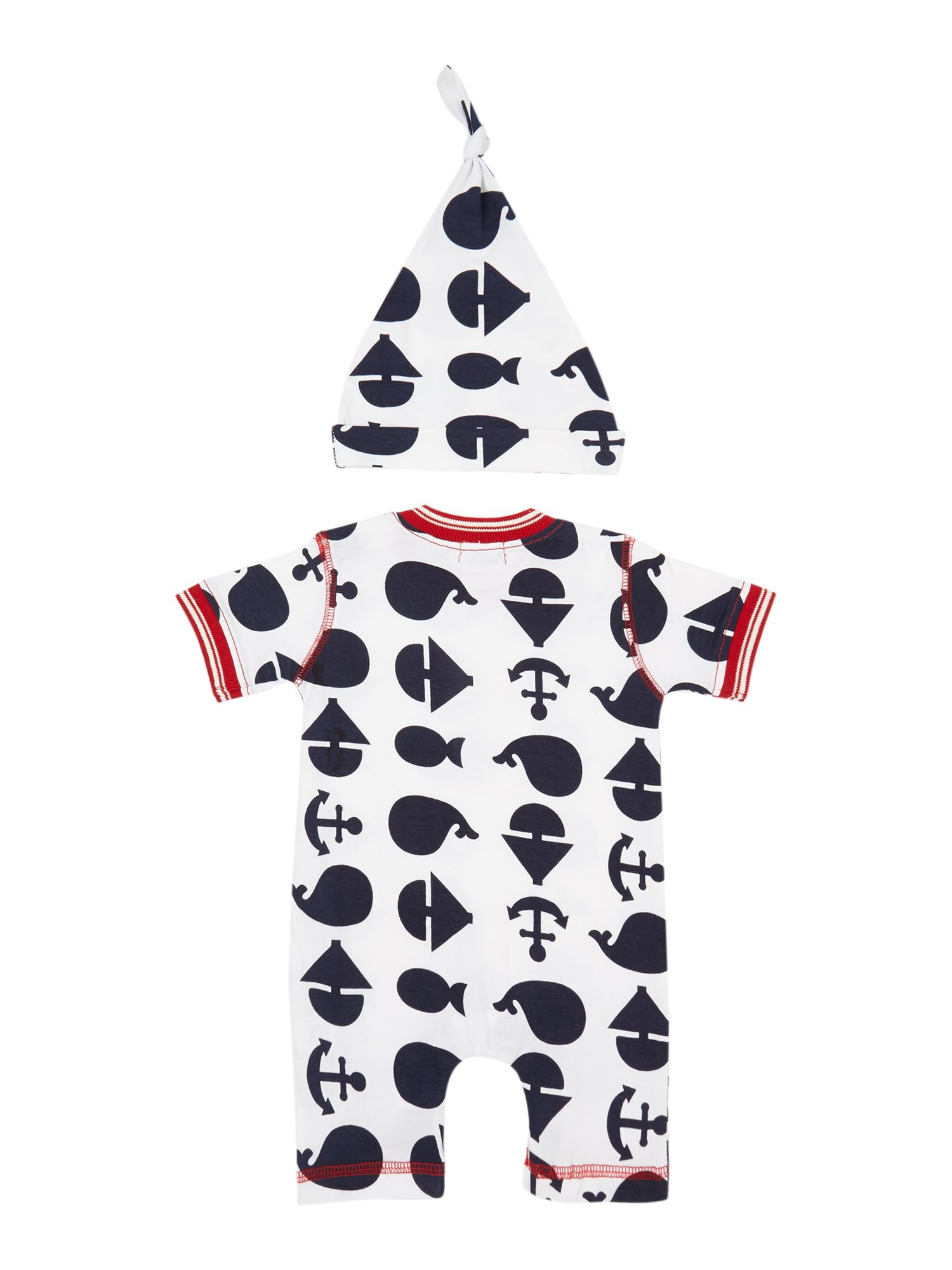 Baby anchor print romper & hat set