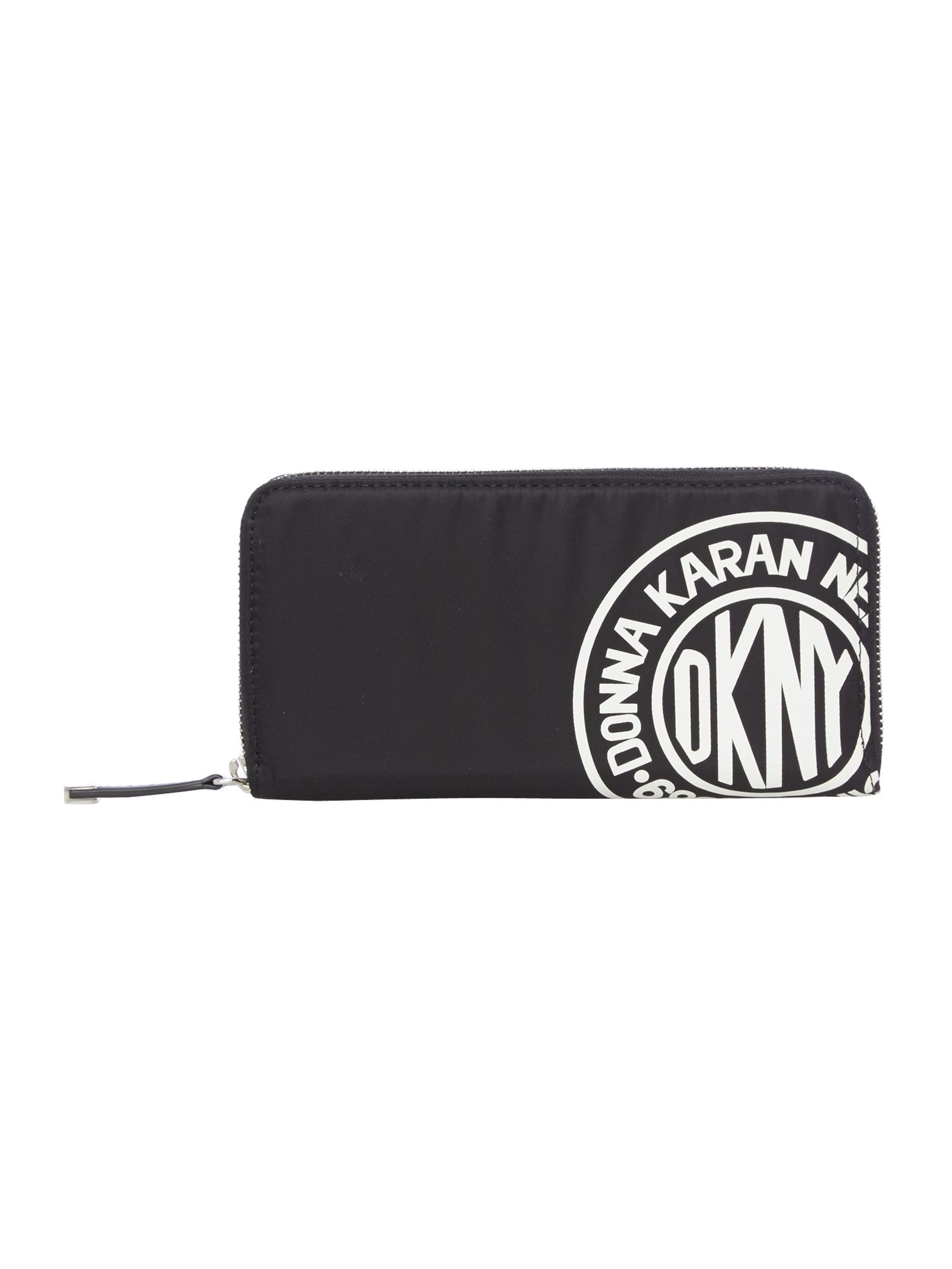 Nylon logo black large zip around purse