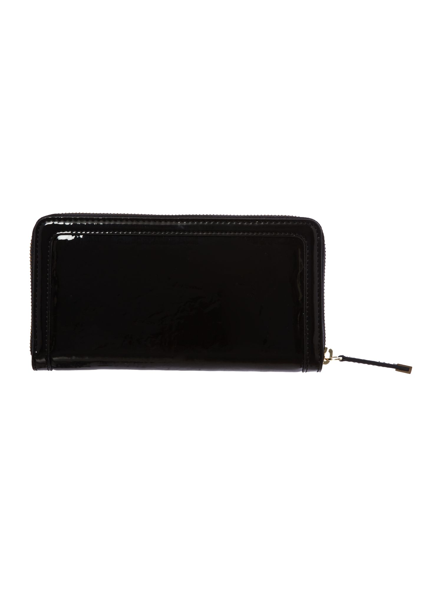 Black patent large zip around purse
