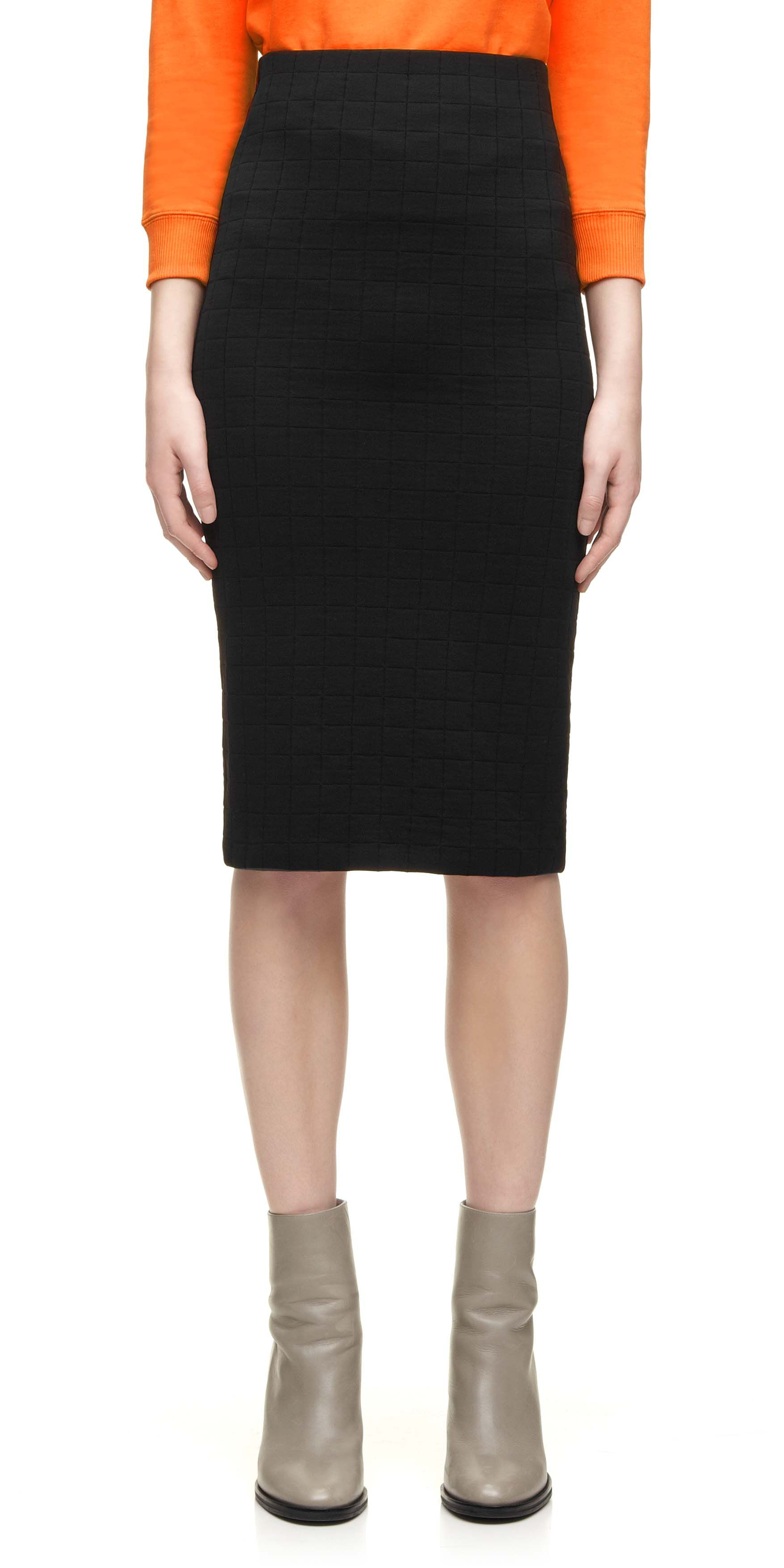 Long Grid Jacquard Tube Skirt