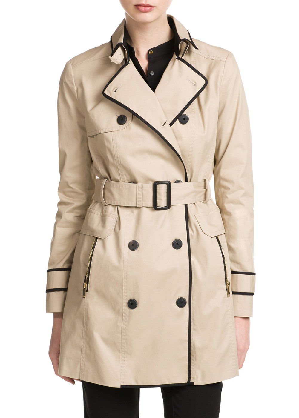 Trim trench coat