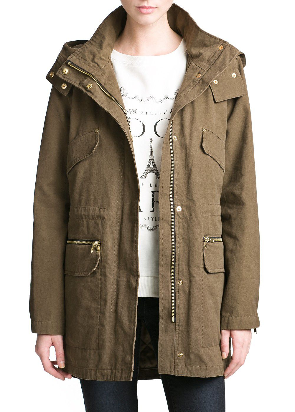 Faux leather applique parka