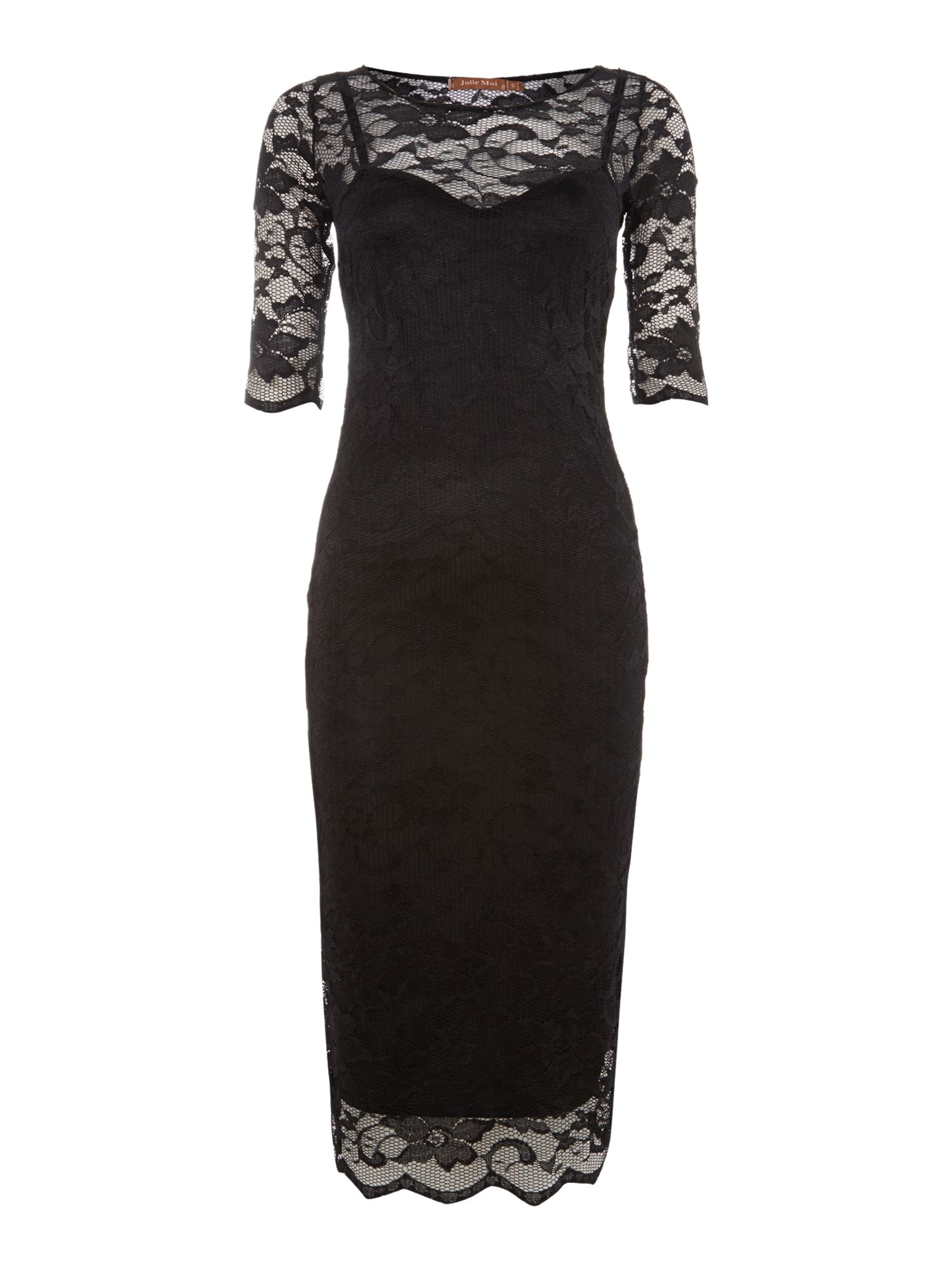 2in1 lace midi dress